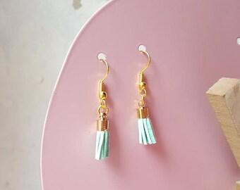 Earrings green PomPoms