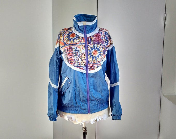 1990s Paris Sport Club Blue winder breaker jacket, vintage fashion, blue-purple spring coat with sun and flowers, size L, made in Hong Kong