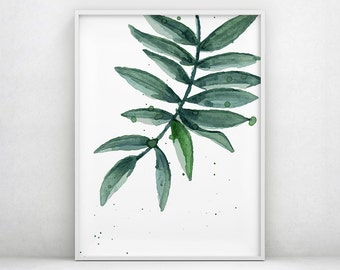 Botanical Print, Watercolor leaf, Tropical Printable, Tropical Leaves, Leaf Print, Palm Digital Print, Tropical Print, Tropical Wall Art