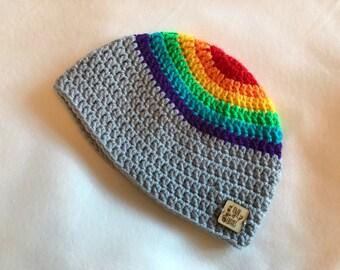 Crochet Rainbow Beanie, hat, children's hat, winter hat