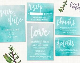 Watercolor Printable Wedding set, Watercolor wedding invitation, printable wedding invitation, Custom wedding invitation, wedding invite