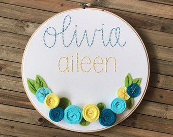 """10"""" personalized embroidery hoop with 3D flowers"""