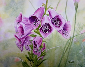 Foxglove original watercolor flower painting 9x12 small painting