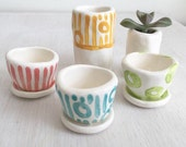 Tiny succulent planter pots, SPRING GEOMETRIC pattern, baby succulent/cactus pot flower pot with saucer