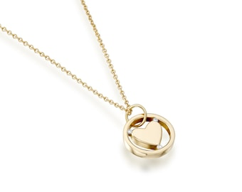Heart Necklace, Heart pendant necklace, Gold heart necklace, Diamond necklace, Yellow gold necklace, Heart necklace gold, Diamond heart