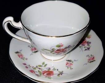 VINTAGE ADDERLY English fine bone china teacup & saucer, handpainted number