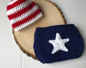 Newborn outfit-4th of July newborn outfit-crochet 4th of July set-baby photo prop-ready to ship
