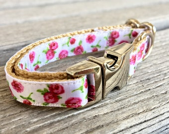 White Floral Teacup Dog Collar, Pink Rose Teacup Dog Collar, Mini Dog Collar, Pink Dog Collar, Rose Dog Collar, Pink Flower Dog Collar