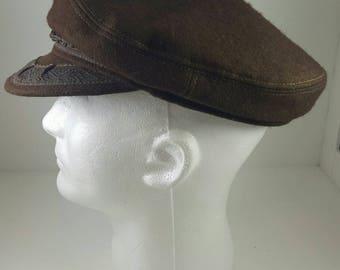 Greek Fisherman's hat brown wool large size 7 3/8 aegean