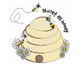 Sweet As Honey Beehive - Machine Embroidery Design