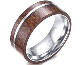 Wood Ring Men Tungsten, Wood Wedding Band, Tungsten Ring For Men, Tungsten Wedding Band, Comfort Fit 8mm Band Width