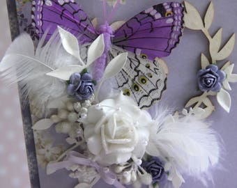 Romantic card with purple butterfly
