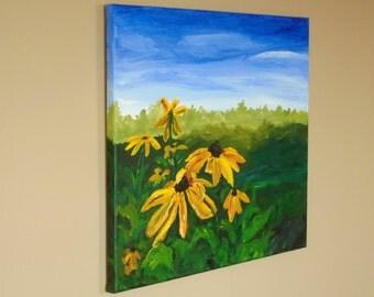 16x20 Original Acrylic Flower Painting on Canvas, Black-Eyed Susan Painting