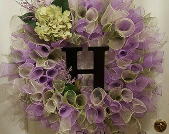 Initial Wreath, Everyday Wreath, Spring Wreaths, Front door Wreaths, Deco Mesh Wreath, Whimsical Wreath, XL Wreath