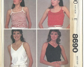 McCalls, 8690, Misses, Pullover, Support Top, Sewing Pattern, Free Shipping, Womens Tops, Vintage, 1980s, Size 10-12, Stretch Knits, Uncut