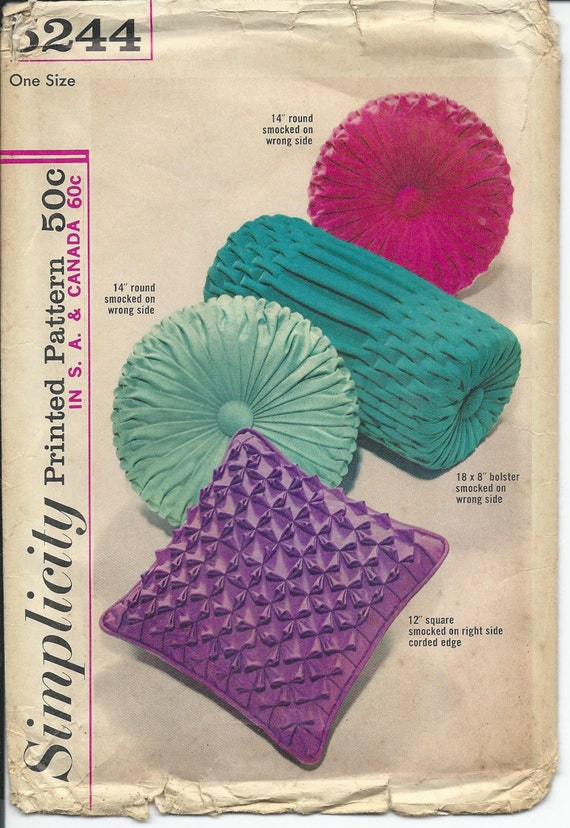 Decorative Throw Pillow Sewing Patterns : Simplicity 5244 Decorative Pillows Sewing Pattern Smocked