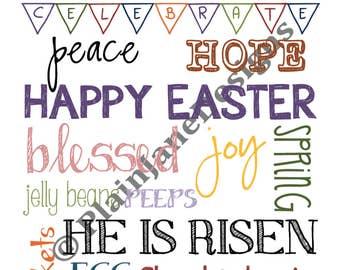 Easter Subway Art - Easter Home Decor - Easter Printable - Instant Download - Christian Art - Printable - Digital