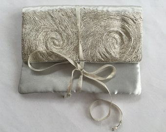 handmade silk silver stitched jewelry carrying case