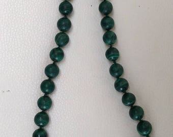 Malachite Beaded Necklace.