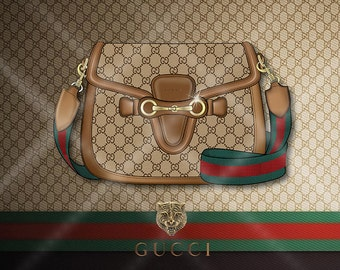 Fashion poster, Gucci Handbag, Lady Web, fashion print, fashion illustration, Handbag illustration, fashion graphic, Gucci, Wall deco