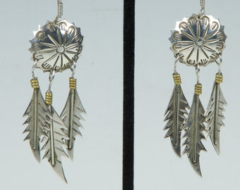 Native American vintage 925 earrings with silver feathers, stamped eye of the Thunderbird shield, drop & dangle shepherd's hooks.