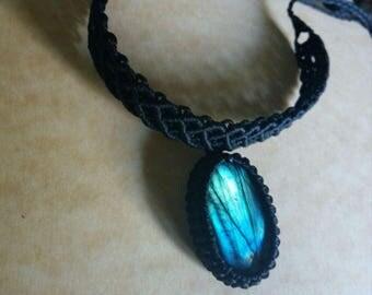Macrame labradorite choker,labradorite necklace,black choker