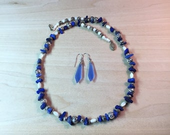 Antique Crystal Earrings and Sodalite/Shell Necklace