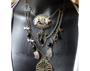 Victorian necklace butterfly, dragonfly