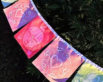 Hand painted Prayer Flags Buddha Om Meditation Spiritual Garden Art Yoga Namaste Zen garden