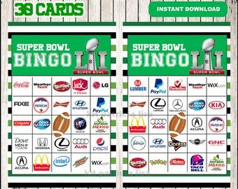 Printable 30 Super Bowl Commercials Bingo Cards instant download , Super Bowl Bingo Game, Printable Super Bowl Bingo Cards