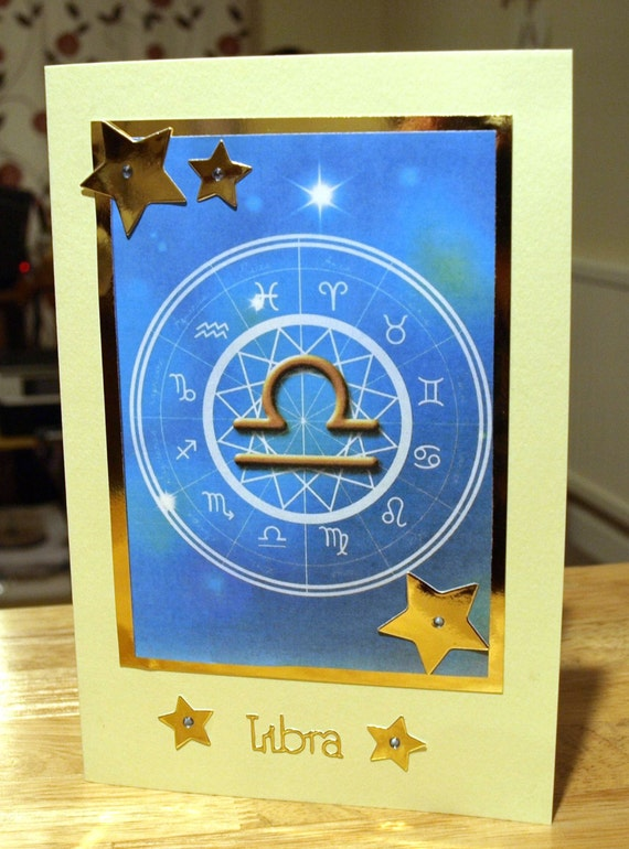 Libra Horoscope/Zodiac/Star Sign Handmade Birthday Card - Sep 23 to Oct 22 - luxury personalised unique quality special astrological UK