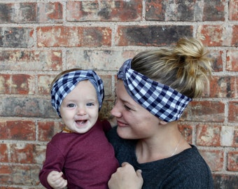 Mommy and Me Turbans in Blue Check