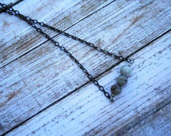 Gray Agate Bar Necklace, Gun Metal Chain Necklace, Silver Necklace, Gemstone Bar Necklace, Gemstone and Silver Necklace, Agate Jewelry