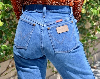 "Vintage High Waist Denim Wrangler Jeans 25"" Waist"