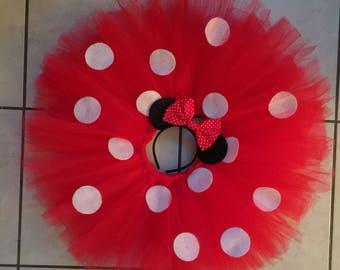 Adult Minnie Mouse Tutu, Red polk dot, Minnie mouse ears, custom tutu, personalized custume tutu