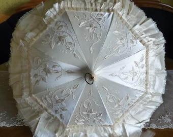 1880 Wedding Parasol, antique parasol, Victorian Umbrella, antique umbrella, Spain