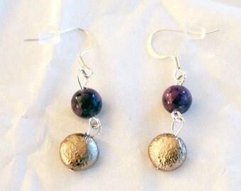 Earrings Purple Jasper Brushed Metal