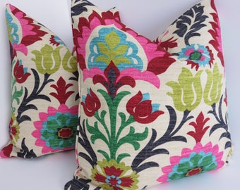 Decorative Pillow Covers- Pink Red Pillows- Green Ivory Pillows- Black Blue Pillows- Floral Pillows - Waverly Pillow Covers
