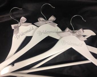 Wedding Bride, Groom, Bridesmaid, Flower Girl, Maid of Honour named coat hangers