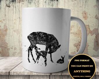 Deer family, Animal print, print on anything, image on transparent background, digital file, Watercolor, printable wall art  (83)