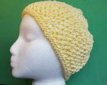 sunny yellow cotton beanie hat