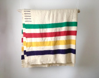 vintage HUDSON Bay 5 point blanket mid century WOOL multi color striped WINTER camping cottage blanket