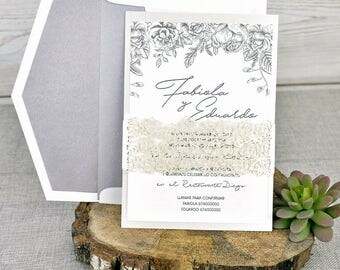 Corte del laser invitaciones de boda invitaciones de boda Floral Boho invitaciones de boda invitaciones de boda románticas invitaciones de papel gris plata