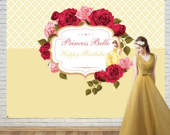 Baby shower, birthday backdrop,princess Backdrop,Beauty and the beast Backdrop,Party Banner,princess,Belle,Event backdrop,Polyester