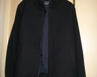 Mens' Dark Navy GAP Wool Blend Bomber Jacket with Ribbed Knit Sleeves/Elbow Patches Size M