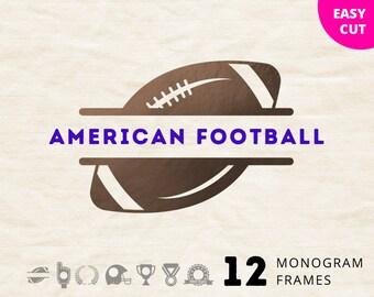 Football Monogram svg cut files svg gridiron sport frame svg gridiron football svg for Cricut vinyl design cut files for Silhouette download