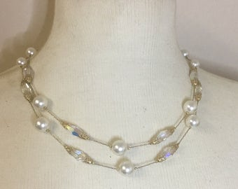 Vintage 1950's Delicate Chain White Pearl and AB Crystal 2 Strand Necklace OOAK