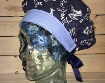 New York yankees scrub cap / scrub hat / womens scrub cap / chef hat / chemo cap /surgical scrub cap