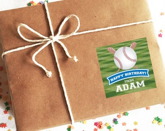 Baseball Birthday Stickers, Personalized Gift Labels, Custom Gift Stickers for Kids