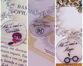 Aluminium pendant with chain bracelet polyshrink Harry Potter theme